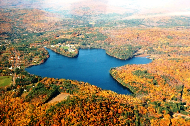 aerial photo of lake in Fall